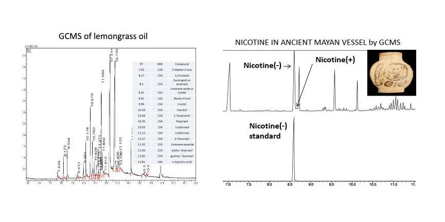 Results from  Shimadzu QP5050-GC-17 Gas Chromatograph-Quadruple Mass Spectrometer